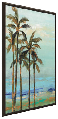 Copper Palms II by Silvia Vassileva Print on Canvas in Floating Frame Landscapes,Blue art,Portrait Shape,All Floating Canvas,Silvia Vassileva