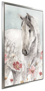 Wild Horses I Crop by Lisa Audit Print on Canvas in Floating Frame Animals,Gray art,Portrait Shape,All Floating Canvas,Lisa Audit