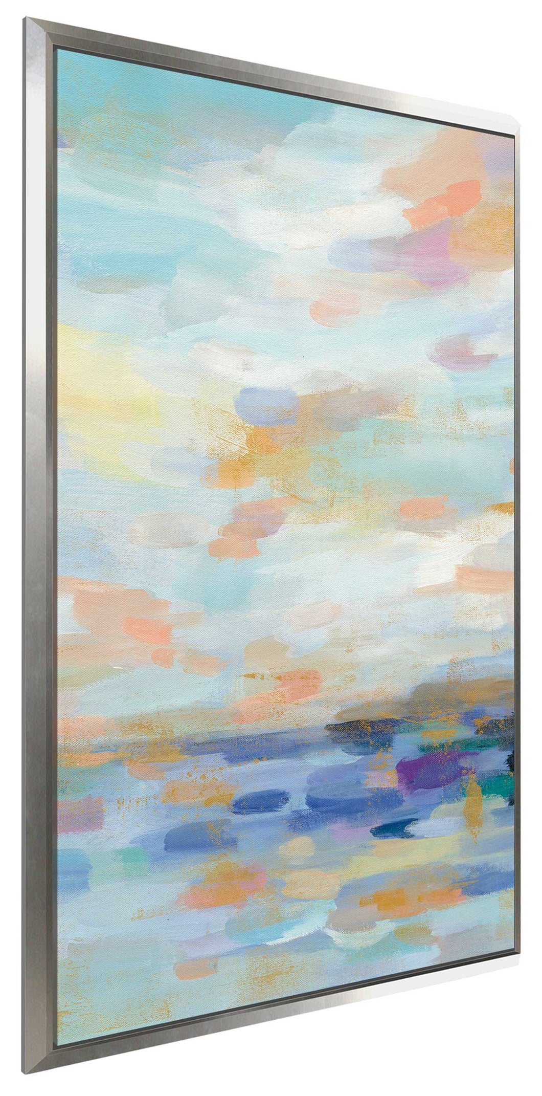 Golden Sunrise III by Silvia Vassileva Print on Canvas in Floating Frame Abstract,Blue art,Portrait Shape,All Floating Canvas,Silvia Vassileva
