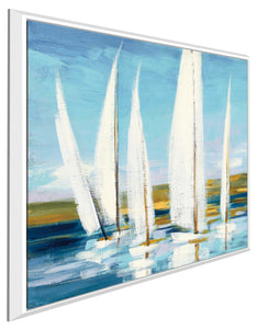 Horizon I by Julia Purinton Print on Canvas in Floating Frame Sea and Shore,Blue art,Square Shape,All Floating Canvas,Julia Purington