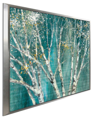 Blue Birch Horizontal I by Julia Purinton Print on Canvas in Floating Frame Landscapes,Green art,Square Shape,All Floating Canvas,Julia Purington