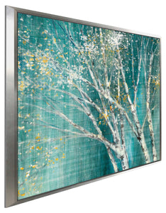 Blue Birch Horizontal II by Julia Purinton Print on Canvas in Floating Frame Landscapes,Green art,Square Shape,All Floating Canvas,Julia Purington