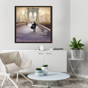 Bridge to NY by Julia Purinton Print on Canvas in Floating Frame Cityscapes,Romance,Brown art,Square Shape,All Floating Canvas,Julia Purington