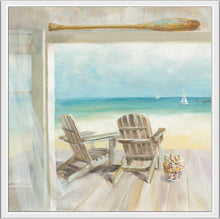 Seaside Morning Crop Print on Canvas in Floating Frame Sea and Shore,Blue art,Square Shape,All Floating Canvas,Danhui Nai