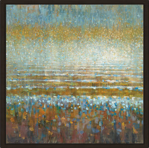 Rains over the Lake Print on Canvas in Floating Frame Abstract,Blue art,Square Shape,All Floating Canvas,Danhui Nai