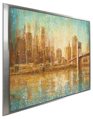 Champagne City Print on Canvas in Floating Frame Cityscapes,Romance,Orange art,Square Shape,All Floating Canvas,Danhui Nai