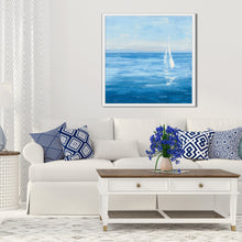 Open Sail with Turquoise I by Julia Purinton Print on Canvas in Floating Frame Sea and Shore,Blue art,Square Shape,All Floating Canvas,Julia Purington