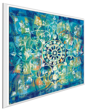 Mandala in Blue I Bright I Print on Canvas in Floating Frame Abstract,Blue art,Square Shape,All Floating Canvas,Danhui Nai