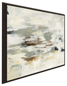 Steps on Stones II Print on Canvas in Floating Frame Abstract,Gray art,Square Shape,All Floating Canvas,Silvia Vassileva
