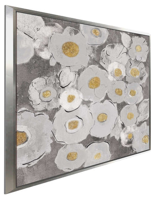 Bohemian Bouquet II Warm by Silvia Vassileva Print on Canvas in Floating Frame Floral,Gray art,Square Shape,All Floating Canvas,Silvia Vassileva