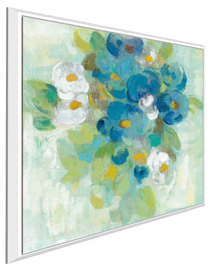 Spring Aroma II White Flowers by Silvia Vassileva Print on Canvas in Floating Frame Floral,Blue art,Square Shape,All Floating Canvas,Silvia Vassileva