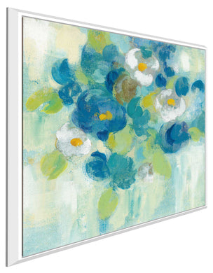 Spring Aroma III Yellow by Silvia Vassileva Print on Canvas in Floating Frame Floral,Blue art,Square Shape,All Floating Canvas,Silvia Vassileva