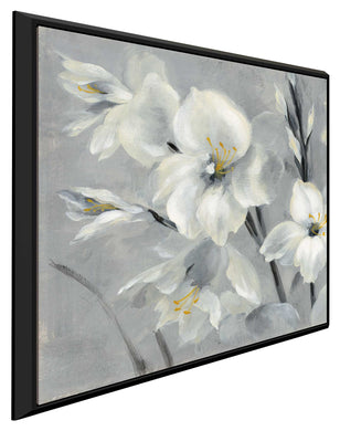Flowers on Gray I by Silvia Vassileva Print on Canvas in Floating Frame Floral,Gray art,Square Shape,All Floating Canvas,Silvia Vassileva