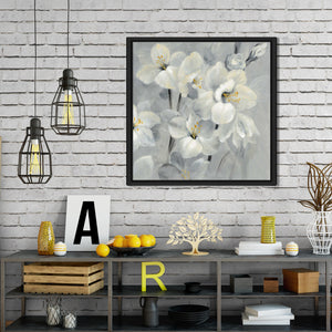 Flowers on Gray II by Silvia Vassileva Print on Canvas in Floating Frame Floral,Gray art,Square Shape,All Floating Canvas,Silvia Vassileva
