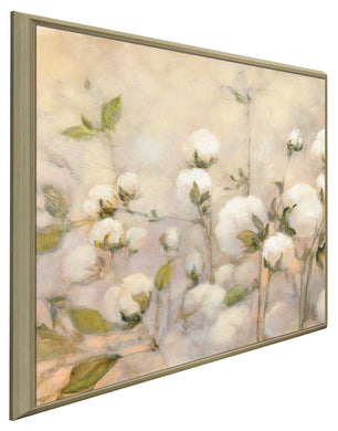 Cotton Field I by Julia Purinton Print on Canvas in Floating Frame Floral,Yellow art,Square Shape,All Floating Canvas,Julia Purington