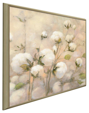 Cotton Field II by Julia Purinton Print on Canvas in Floating Frame Floral,Yellow art,Square Shape,All Floating Canvas,Julia Purington