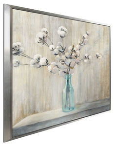 Cotton Bouquet I by Julia Purinton Print on Canvas in Floating Frame Floral,Gray art,Square Shape,All Floating Canvas,Julia Purington