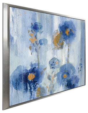 Seaside Flowers IA by Silvia Vassileva Print on Canvas in Floating Frame Floral,Blue art,Square Shape,All Floating Canvas,Silvia Vassileva