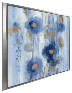 Seaside Flowers IB by Silvia Vassileva Print on Canvas in Floating Frame Floral,Blue art,Square Shape,All Floating Canvas,Silvia Vassileva