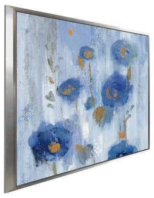 Seaside Flowers IIA by Silvia Vassileva Print on Canvas in Floating Frame Floral,Blue art,Square Shape,All Floating Canvas,Silvia Vassileva