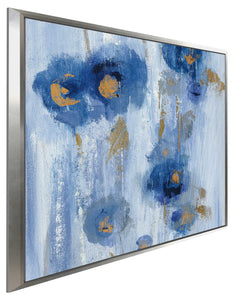 Seaside Flowers IIB by Silvia Vassileva Print on Canvas in Floating Frame Floral,Blue art,Square Shape,All Floating Canvas,Silvia Vassileva