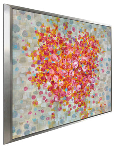 Circle of Hearts Print on Canvas in Floating Frame Floral,Pink art,Square Shape,All Floating Canvas,Danhui Nai