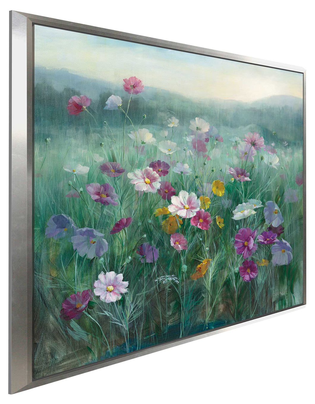 Cosmos at Dawn Print on Canvas in Floating Frame Floral,Green art,Square Shape,All Floating Canvas,Danhui Nai