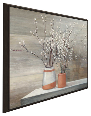 Pussy Willow Still Life I by Julia Purinton Print on Canvas in Floating Frame Floral,Brown art,Square Shape,All Floating Canvas,Julia Purington