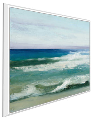Azure Ocean II by Julia Purinton Print on Canvas in Floating Frame Sea and Shore,Blue art,Square Shape,All Floating Canvas,Julia Purington