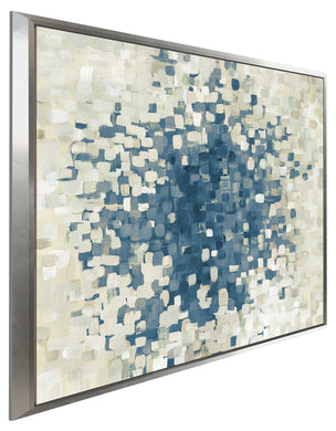 Summer Blocks Blue Print on Canvas in Floating Frame Abstract,Blue art,Square Shape,All Floating Canvas,Danhui Nai