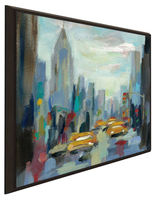 Manhattan Sketches I by Silvia Vassileva Print on Canvas in Floating Frame Cityscapes,Romance,Blue art,Square Shape,All Floating Canvas,Silvia Vassileva