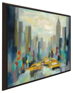 Manhattan Sketches II by Silvia Vassileva Print on Canvas in Floating Frame Cityscapes,Romance,Blue art,Square Shape,All Floating Canvas,Silvia Vassileva