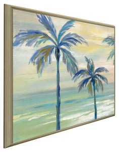 Marine Layer Palms I by Silvia Vassileva Print on Canvas in Floating Frame Landscapes,Green art,Square Shape,All Floating Canvas,Silvia Vassileva