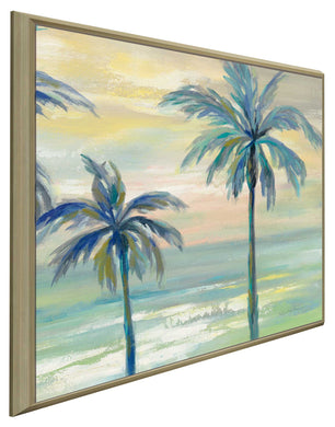 Marine Layer Palms II by Silvia Vassileva Print on Canvas in Floating Frame Landscapes,Green art,Square Shape,All Floating Canvas,Silvia Vassileva