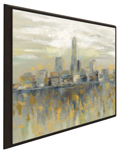 Manhattan Fog I by Silvia Vassileva Print on Canvas in Floating Frame Cityscapes,Yellow art,Square Shape,All Floating Canvas,Silvia Vassileva