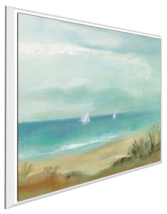 Serenity on the Beach I by Silvia Vassileva Print on Canvas in Floating Frame Sea and Shore,Blue art,Square Shape,All Floating Canvas,Silvia Vassileva