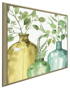 Mixed Greens LV by Lisa Audit Print on Canvas in Floating Frame Floral,Green art,Square Shape,All Floating Canvas,Lisa Audit