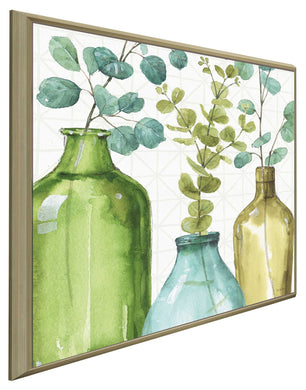 Mixed Greens LVI by Lisa Audit Print on Canvas in Floating Frame Floral,Green art,Square Shape,All Floating Canvas,Lisa Audit
