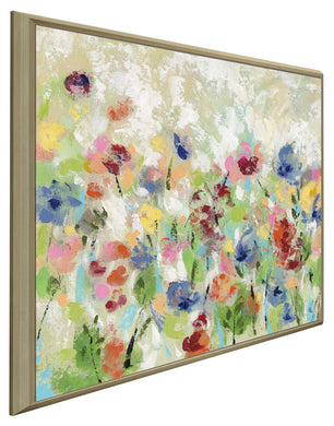 Springtime Meadow Flowers I by Silvia Vassileva Print on Canvas in Floating Frame Floral,Green art,Square Shape,All Floating Canvas,Silvia Vassileva