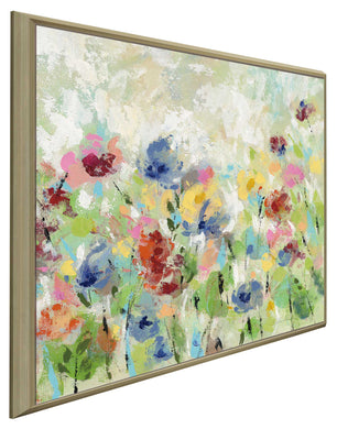 Springtime Meadow Flowers II by Silvia Vassileva Print on Canvas in Floating Frame Floral,Green art,Square Shape,All Floating Canvas,Silvia Vassileva