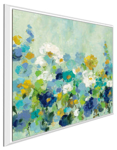 Midsummer Garden White Flowers by Silvia Vassileva Print on Canvas in Floating Frame Floral,Blue art,Square Shape,All Floating Canvas,Silvia Vassileva