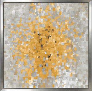 Summer Blocks with Gray Print on Canvas in Floating Frame Abstract,Yellow art,Square Shape,All Floating Canvas,Danhui Nai