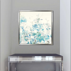 Translucent Garden Blue I Print on Canvas in Floating Frame Floral,Blue art,Square Shape,All Floating Canvas,Danhui Nai