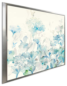 Translucent Garden Blue II Print on Canvas in Floating Frame Floral,Blue art,Square Shape,All Floating Canvas,Danhui Nai