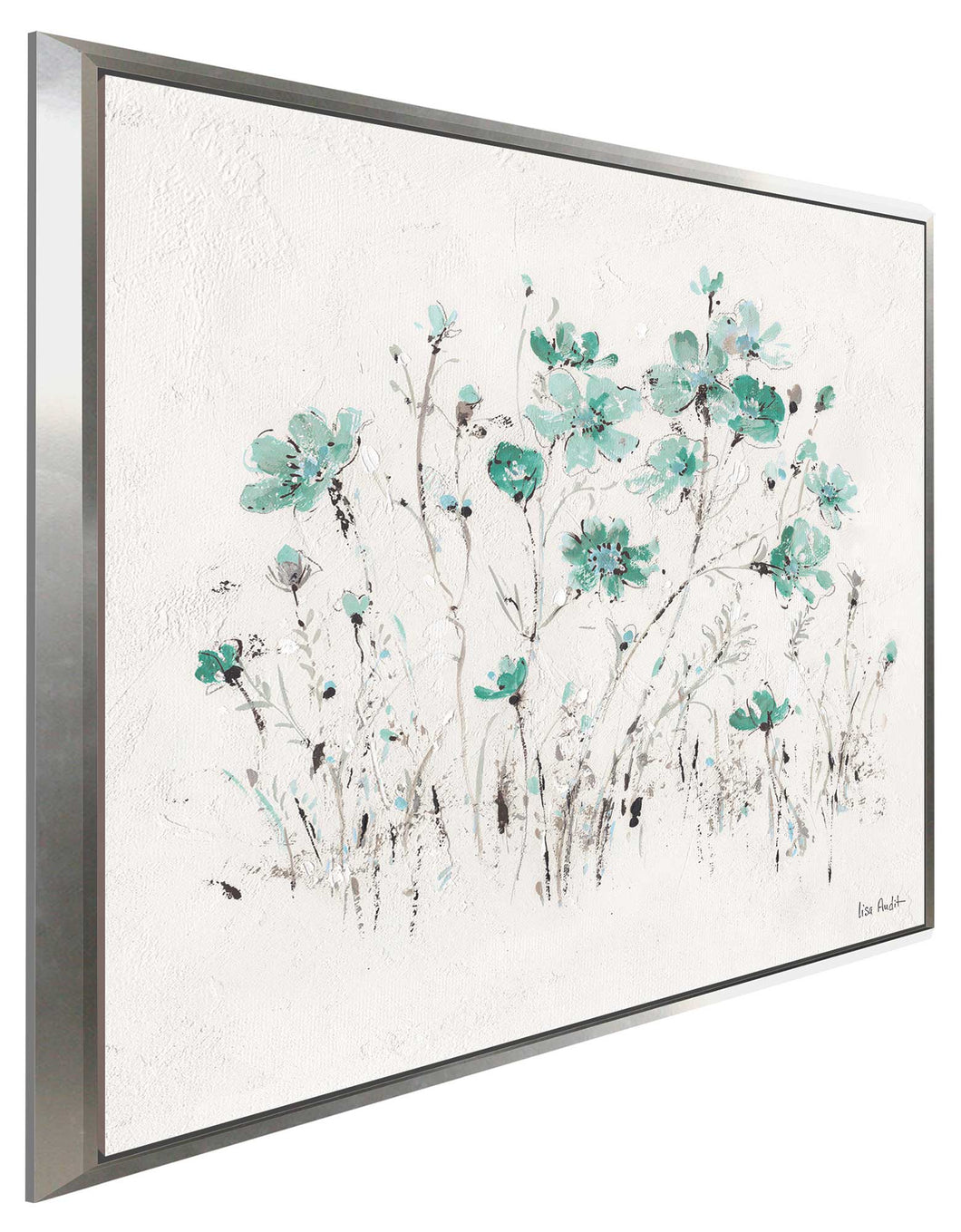 Wildflowers II Turquoise by Lisa Audit Print on Canvas in Floating Frame Floral,White art,Square Shape,All Floating Canvas,Lisa Audit