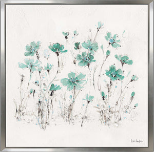 Wildflowers III Turquoise by Lisa Audit Print on Canvas in Floating Frame Floral,White art,Square Shape,All Floating Canvas,Lisa Audit