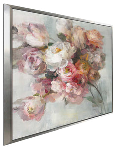 Blush Bouquet Print on Canvas in Floating Frame Floral,Gray art,Square Shape,All Floating Canvas,Danhui Nai