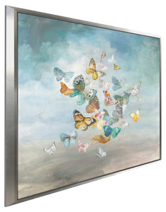 Beautiful Butterflies Print on Canvas in Floating Frame Animals,Blue art,Square Shape,All Floating Canvas,Danhui Nai