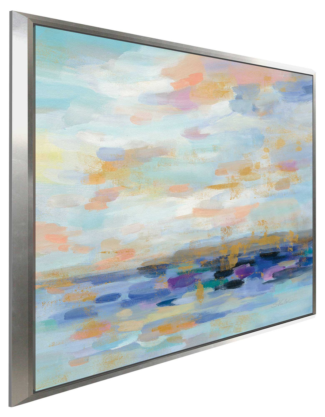 Golden Sunrise I by Silvia Vassileva Print on Canvas in Floating Frame Abstract,Blue art,Square Shape,All Floating Canvas,Silvia Vassileva