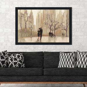 An Evening Out Neutral by Julia Purinton Print on Acrylic Cityscapes,Romance,Brown art,Landscape Shape,All Acrylic Art,Julia Purington,All Subjects,All Colors,All Shapes,All Artists